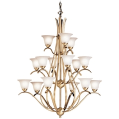 Kichler Lighting Kichler Chandelier with White Glass in Antique Brass Finish 2523AB