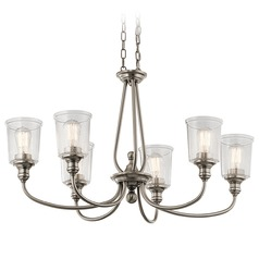 Seeded Glass Chandelier Pewter Kichler Lighting