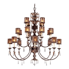 Crystal Chandelier with Brown Glass in Sanguesa Patina Finish