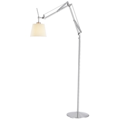 Modern Swing Arm Lamp with Beige / Cream Shade in Satin Steel Finish