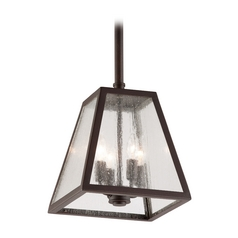 Outdoor Hanging Light with Clear Glass in River Valley Rust Finish