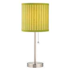 Table Lamp with Green Striped Drum Shade