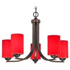 Bronze Chandelier with five-lights and Red Glass Shades