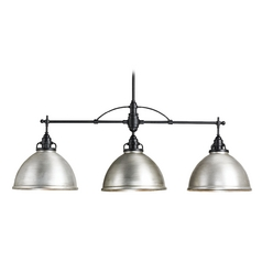 Currey and Company Lighting Satin Black / Antique Brushed Nickel Island Light with Bowl / Dome Shade