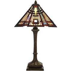 Quoizel Lighting Table Lamp with Tiffany Glass in Valiant Bronze Finish TF124TVA