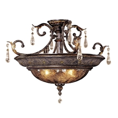 Semi-Flushmount Ceiling Light with Art Glass and Crystal Accents