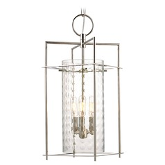 Modern Pendant Light with Clear Glass in Polished Nickel Finish