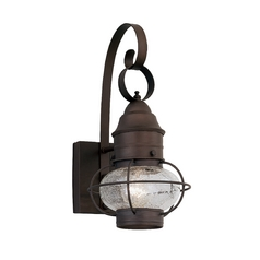 Outdoor Wall Light with Clear Glass in Rustique Finish