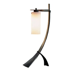 Forged Iron Table Lamp with Stone Glass in Bronze Finish