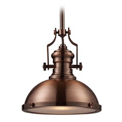 Elk Lighting Chadwick Antique Copper LED Pendant Light with Bowl / Dome Shade