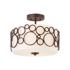 Progress Modern Semi-Flushmount Ceiling Light with White Glass