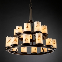 Justice Design Lumenaria 2-Tier 21-Light Chandelier in Dark Bronze