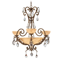 Chandelier with Alabaster Glass in French Marble Finish