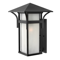 Etched Seeded Glass Outdoor Wall Light Black Hinkley Lighting