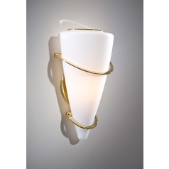 Holtkoetter Modern Sconce Wall Light with White Glass in Polished Brass Finish