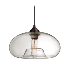 Besa Lighting Bana Bronze Pendant Light with Oblong Shade