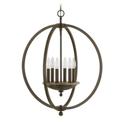 Capital Lighting Perry Bronze and Oak Pendant Light