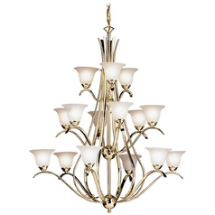 Kichler Lighting Kichler Chandelier with White Glass in Polished Brass Finish 2523PB