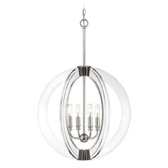 Polished Nickel Pendant Light Epsilon Collection by Savoy House