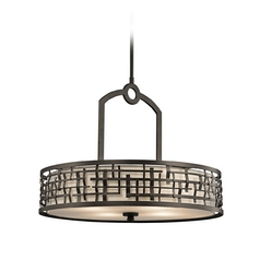 Kichler Drum Pendant Light with White Cage Shade in Olde Bronze Finish