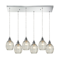 Multi-Light Pendant Light with Clear Glass and 6-Lights
