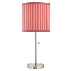 Design Classics Lighting Pull-Chain Table Lamp with Pink Striped Drum Lamp Shade 1900-09 SH9521