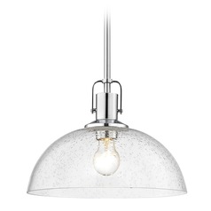 Industrial Chrome Pendant Light Seeded Glass 13-Inch Wide