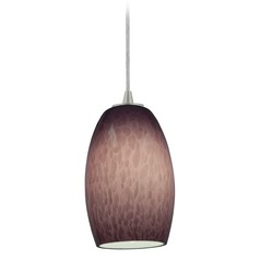 Access Lighting Chianti Brushed Steel Mini-Pendant Light with Oblong Shade
