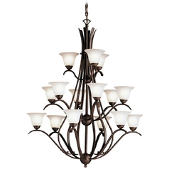Kichler Lighting Kichler Chandelier with White Glass in Tannery Bronze Finish 2523TZ