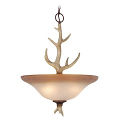 Lodge Noachian Stone Pendant Light with Bowl / Dome Shade by Vaxcel Lighting