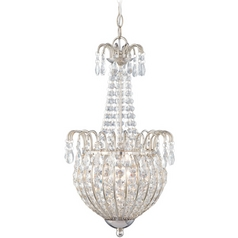 Crystal Chandelier with Silver Glass Shade in Imperial Silver Finish