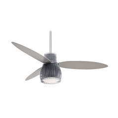 Modern Ceiling Fan with Light with White Glass in Chrome Finish