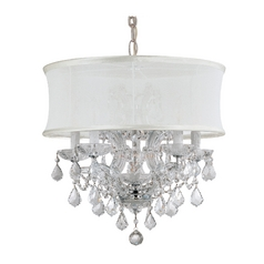 Modern Drum Pendant Light with White Shade in Antique Nickel Finish