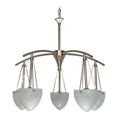 Modern Chandelier with White Glass in Brushed Nickel Finish