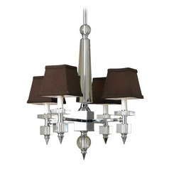 Modern Mini-Chandelier with Brown Shades in Chrome Finish
