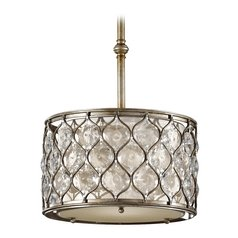 Pendant Light with Beige / Cream Shade in Burnished Silver Finish