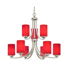 Contemporary 2-Tier 5-Light Chandelier with Red Cylinder Glass in Satin Nickel