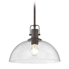 Farmhouse Bronze Seeded Glass Pendant Light 13-Inch Wide