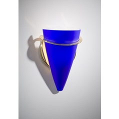 Holtkoetter Modern Sconce Wall Light with Blue Glass in Polished Brass Finish