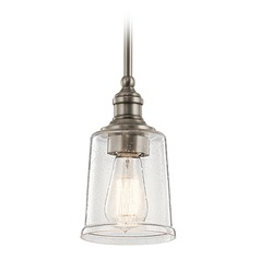 Seeded Glass Mini-Pendant Light Pewter Kichler Lighting