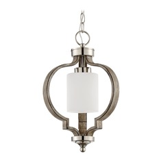 Craftmade Lighting Jasmine Polished Nickel/weathered Fir Pendant Light with Cylindrical Shade