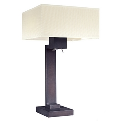 Modern Table Lamp With White Shades In Bronze Finish