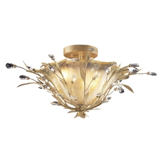 Semi-Flushmount Light with Beige / Cream Glass in Russet Beige Finish