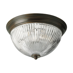 Progress Lighting Progress Flushmount Light with Clear Glass in Antique Bronze Finish P3656-20