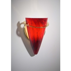 Holtkoetter Modern Sconce Wall Light with Red Glass in Polished Brass Finish