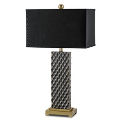 Currey and Company Venturi Black/coffee Bronze Table Lamp with Rectangle Shade