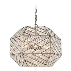 Elk Lighting Constructs Weathered Zinc Pendant Light with Hexagon Shade