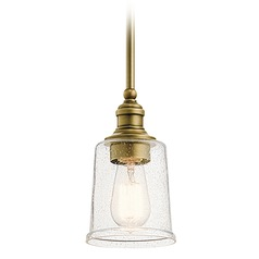 Kichler Lighting Waverly Natural Brass Mini-Pendant Light with Bell Shade