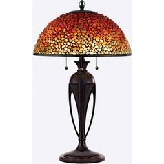 Table Lamp with Multi-Colored Glass in Burnt Cinnamon Finish