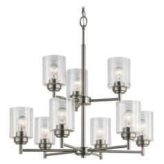 Seeded Glass Chandelier Brushed Nickel Winslow by Kichler Lighting